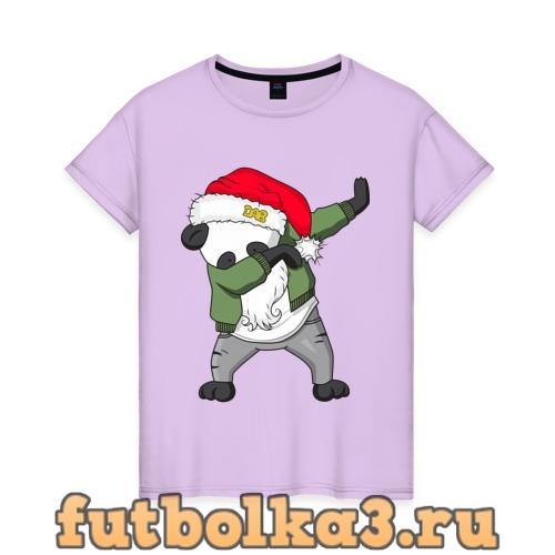 Футболка Панда дед мороз женская