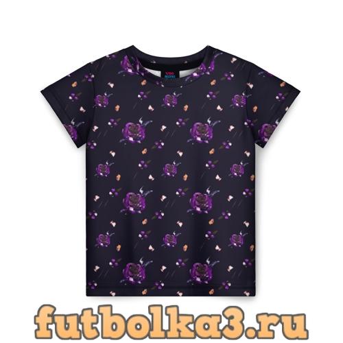 Футболка фиолетовые розы на темном фоне детская
