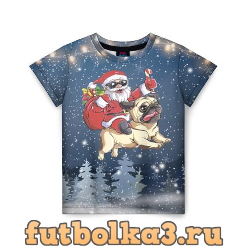 Футболка Санта едет на мопсе детская
