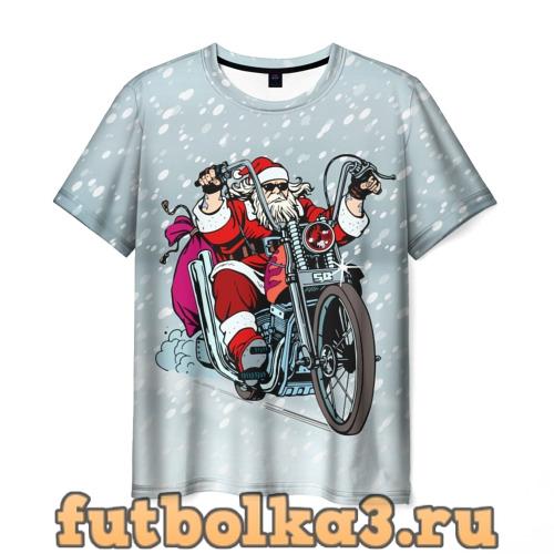 Футболка Санта Клаус байкер мужская