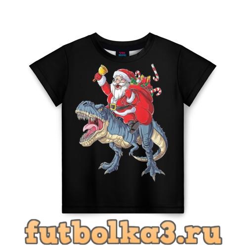 Футболка Санта верxом на динозавре детская