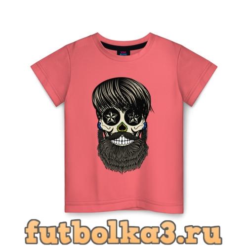 Футболка Сахарный череп с бородой детская