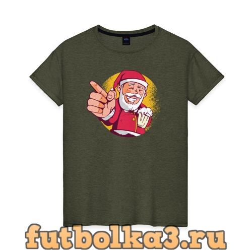 Футболка Санта и Пиво женская